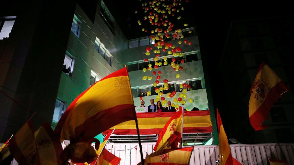 Foto: Celebraciones en la sede de Vox durante la noche electoral del 10 de noviembre (Reuters)