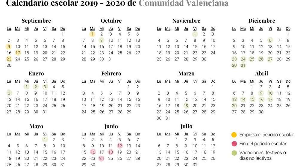 Calendario escolar 2019-2020 para la Comunidad Valenciana: vacaciones y festivos
