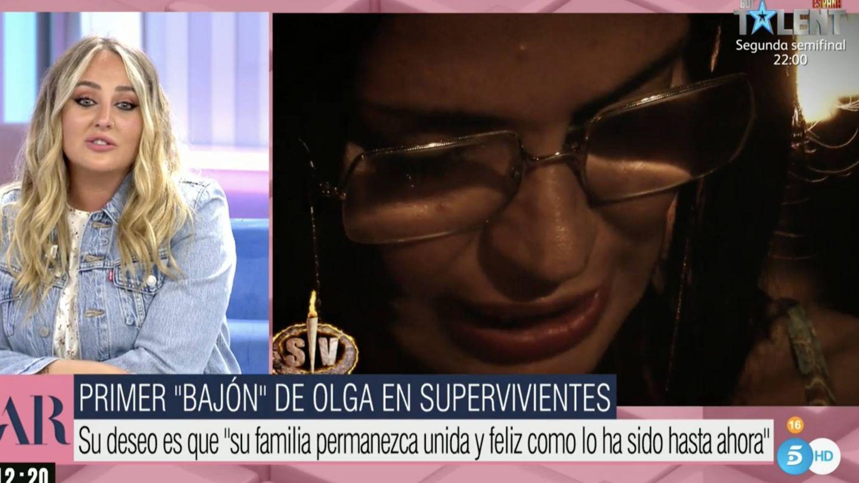 Rocío Flores se ha emocionado con las imágenes de Olga. (Mediaset)