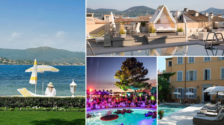 En el sentido de las agujas del reloj: La Residence de la Pinede, Hotel Pan dei Palaise, Hotel de Paris St Tropez y el Hotel Byblos.