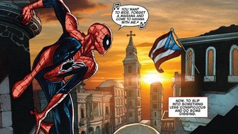 Foto: Spiderman, junto a la bandera de Puerto Rico que debía ser cubana (Marvel)