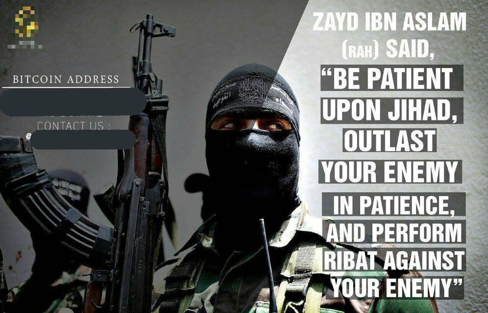 Foto: Uno de los pósters compartidos en Telegram en los que se pide donaciones en bitcoins para el Estado Islámico.