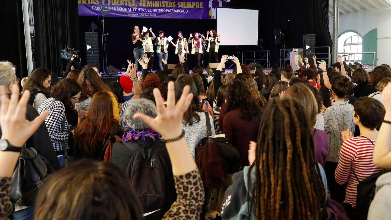Evento en Madrid para apoyar la huelga feminista del próximo 8 de mayo. (EFE)