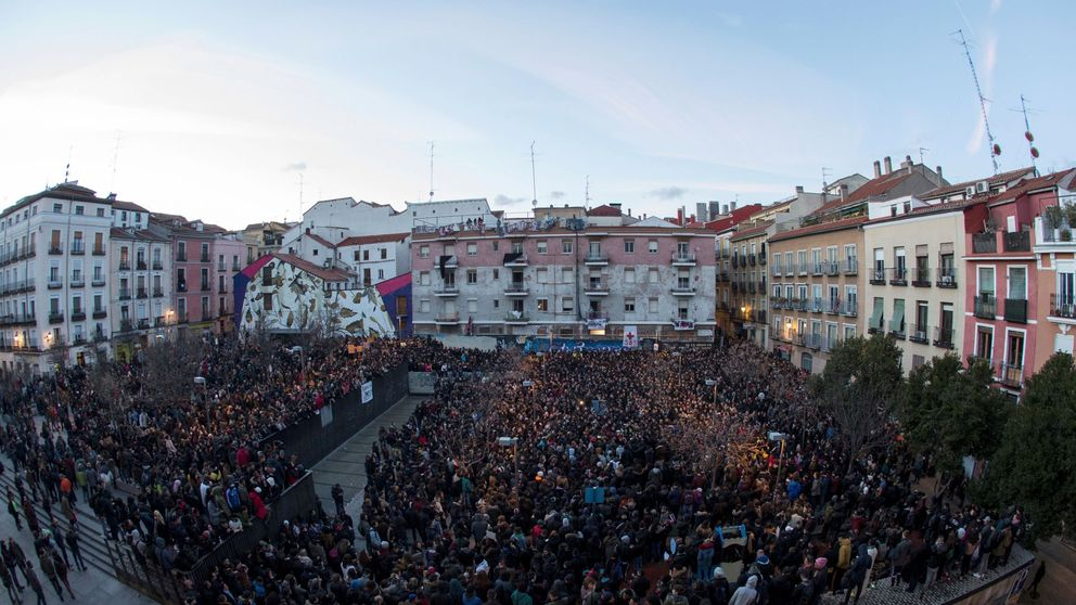Manifestación en Lavapiés tras la muerte del mantero y los enfrentamientos