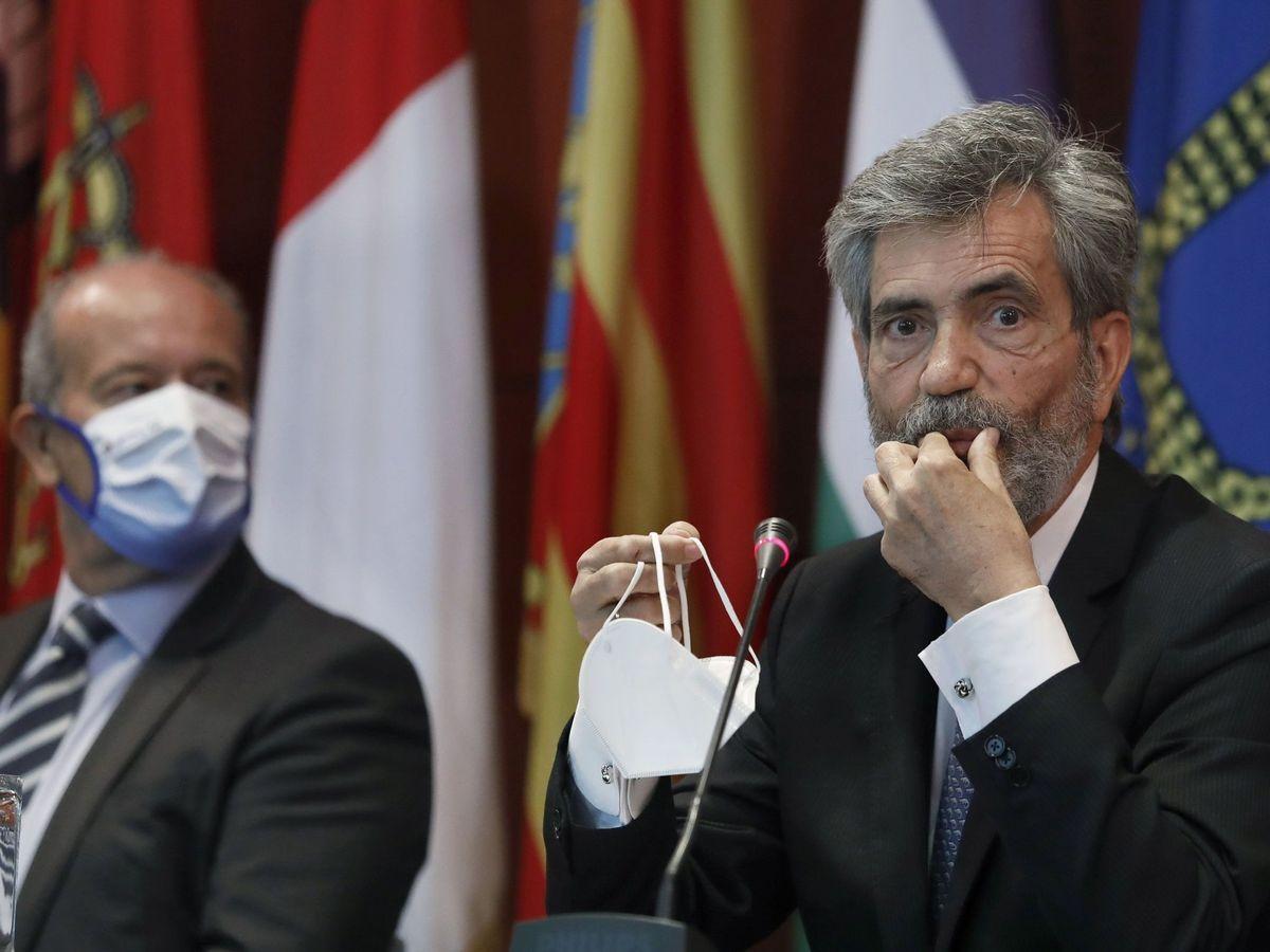 Foto: El presidente del Tribunal Supremo y del CGPJ, Carlos Lesmes, y el ministro de Justicia, Juan Carlos Campo. (EFE)