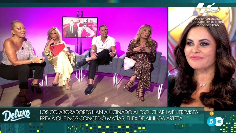 Los colaboradores y Teresa Bueyes. (Telecinco).
