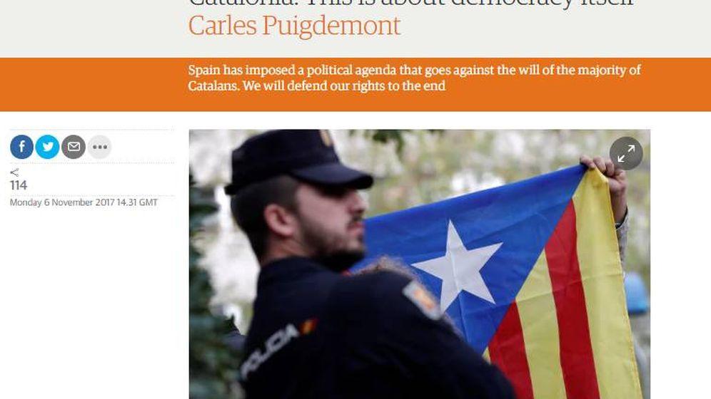 Foto: Artículo de Carles Puigdemont en 'The Guardian'