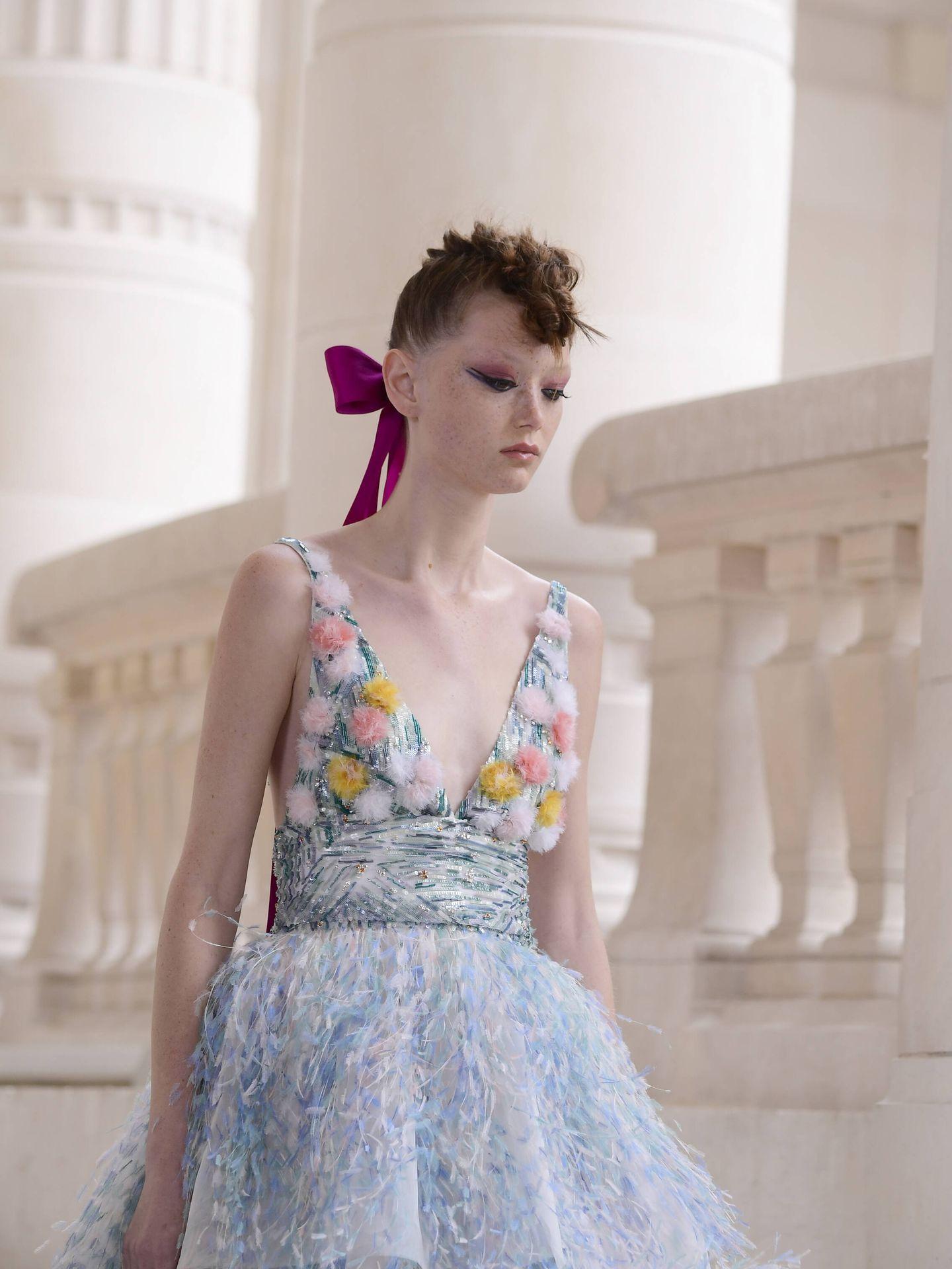 Detalle del maquillaje de Chanel en el desfile de la Alta Costura de París. (Getty)