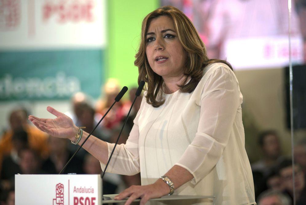 Foto: Susana Díaz, durante su intervención en el mitin por los diez años de la Ley de Dependencia, este 16 de diciembre en Jaén. (EFE)