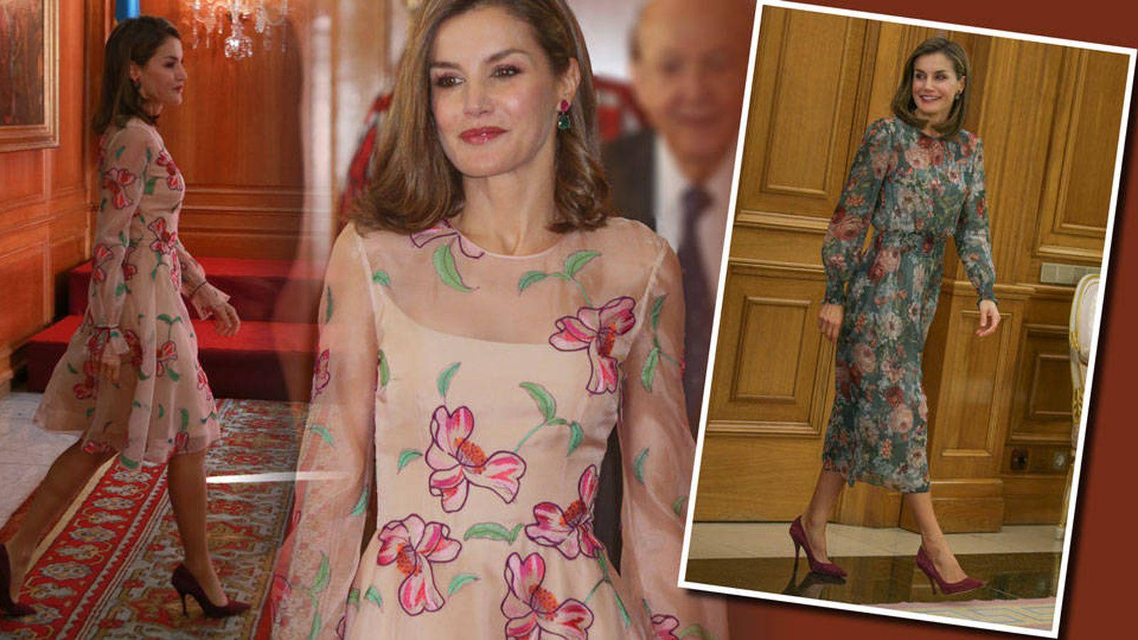 Foto: Letizia con su vestido de Carolina Herrera y su Zara. (Vanitatis)