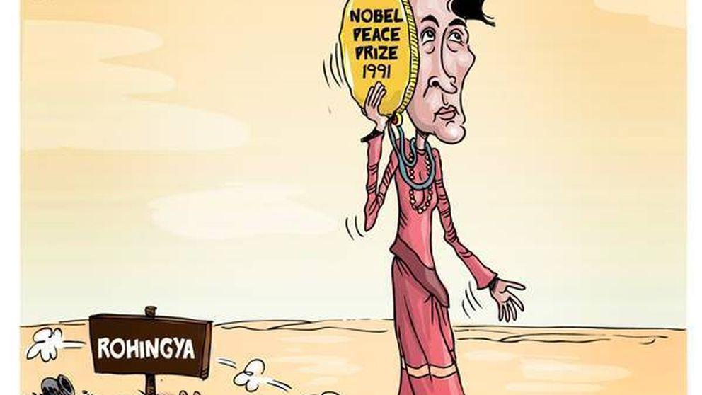 El genocidio rohingyá y el silencio de Suu Kyi en Birmania, en viñetas
