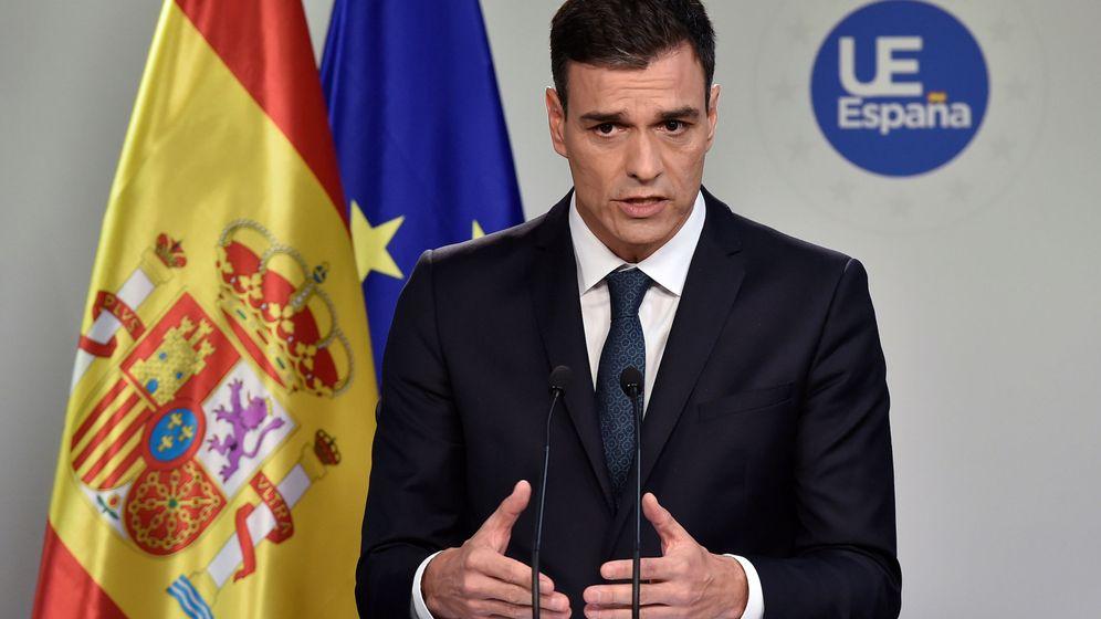 Foto: Pedro Sánchez, en la rueda de prensa tras su primera cumbre europea (REUTERS)
