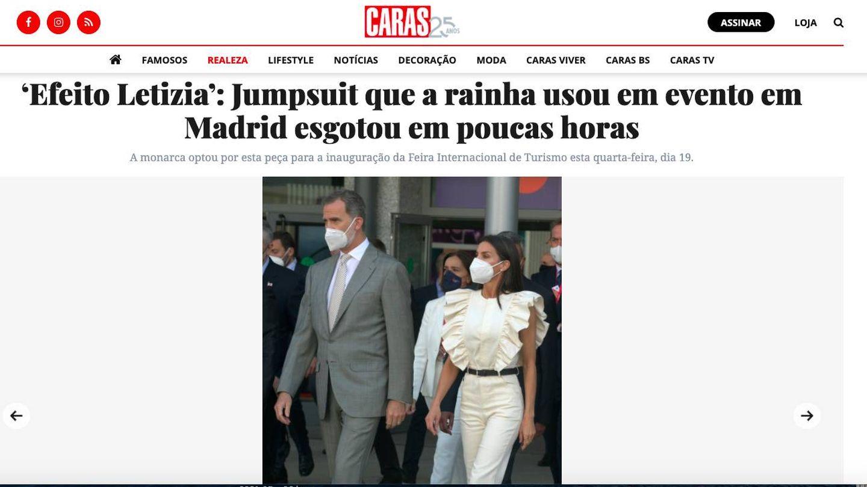 La reina Letizia y su mono, en la edición digital de 'Caras'.