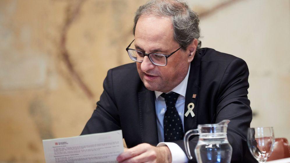 Foto: Quim Torra en la reunión semanal del gobierno catalán. (EFE)