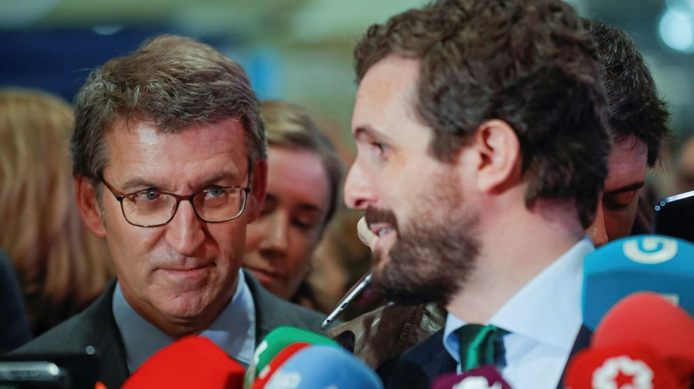 Foto: El presidente del PP, Pablo Casado, y el presidente de la Xunta de Galicia, Alberto Núñez Feijóo. (EFE)