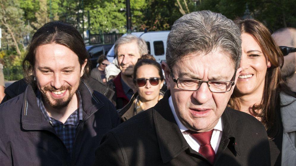 Foto: El candidato a las presidenciales francesas por La Francia Insumisa, Jean-Luc Mélenchon (d), y el líder de Podemos, Pablo Iglesias, en un encuentro en París antes de las elecciones francesas. (EFE)