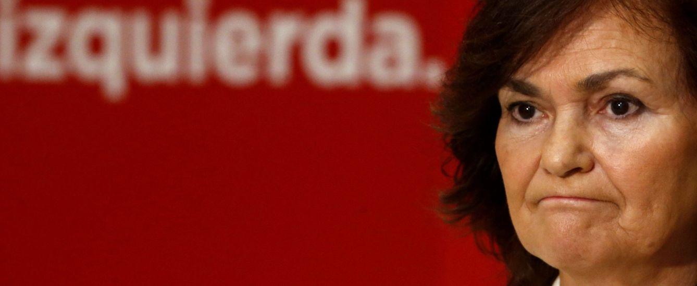Foto: Carmen Calvo, secretaria de Igualdad del PSOE, este 26 de mayo en Ferraz. (EFE)