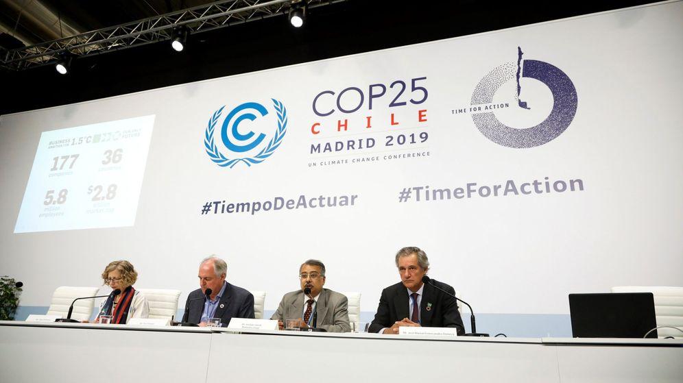 Foto: Una conferencia empresarial en la COP25, sobre la descarbonización de la economía. (EFE)