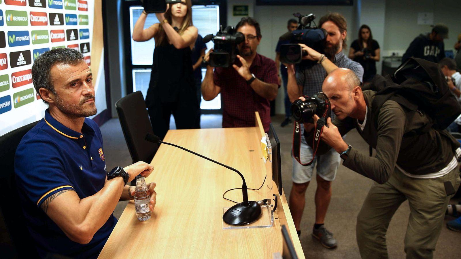 Foto: Luis Enrique, durante una rueda de prensa (EFE)