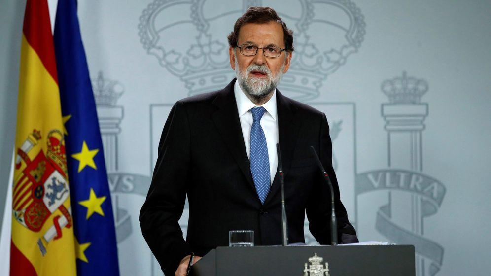 Foto: El presidente del Gobierno, Mariano Rajoy, durante la rueda de prensa ofrecida en la Moncloa. (EFE)