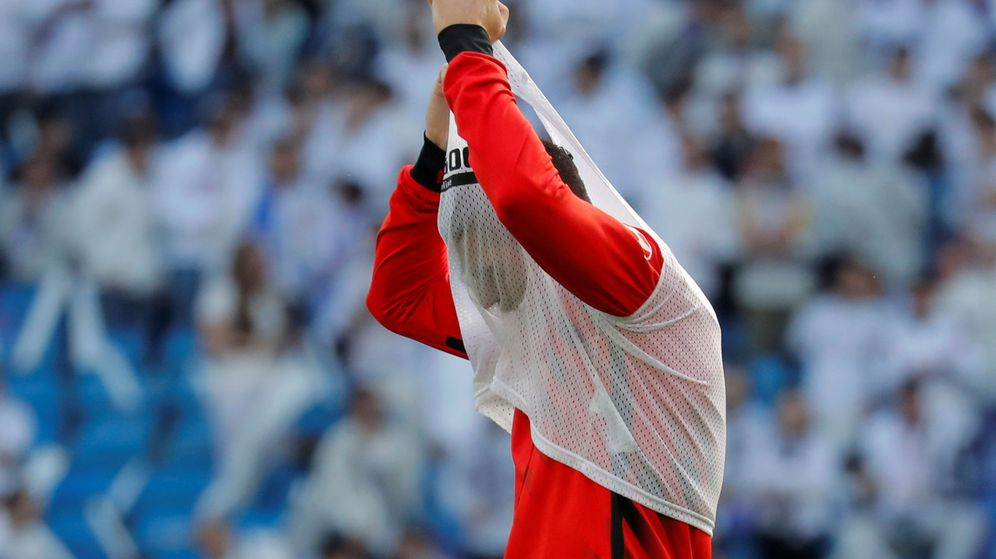 Foto: Morata, durante el calentamiento del Real Madrid-Atlético de Madrid de febrero de este año. (REUTERS)