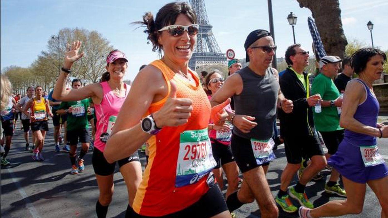 Foto: Cristina Mitre en el maratón de Paris. (Thebeautymail)