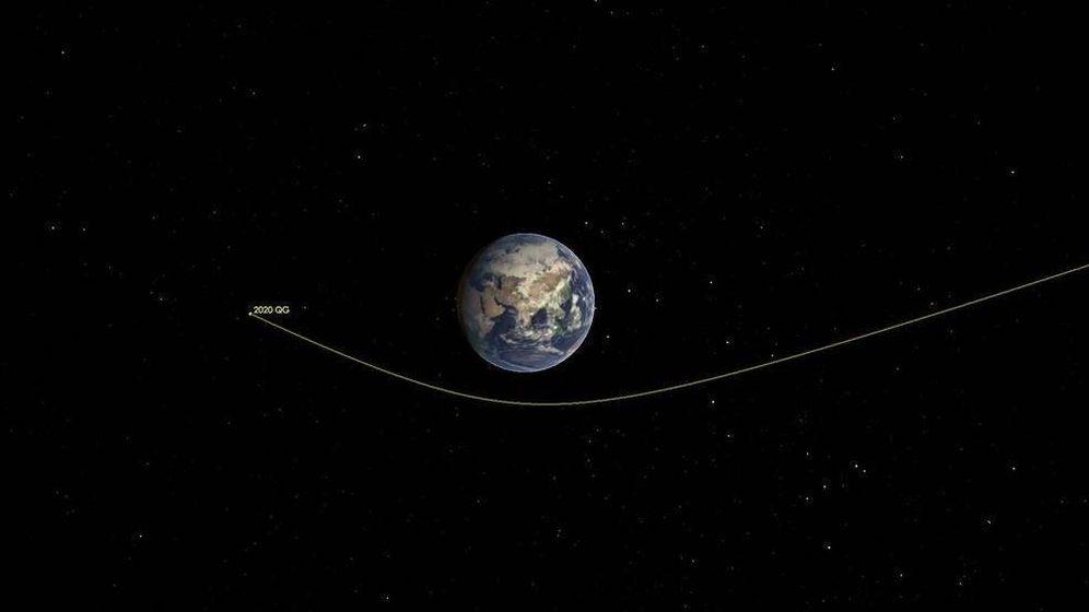 Foto: Trayectoria del asteroide 2020 QG. Foto: NASA / Caltech