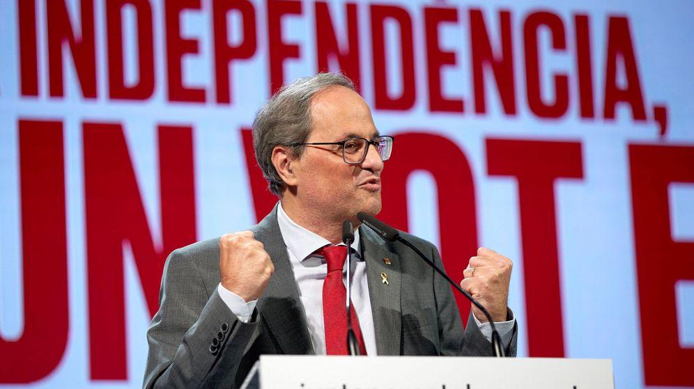 Foto: El presidente de la Generalitat, Quim Torra, durante un acto electoral de JxCAT. (EFE)