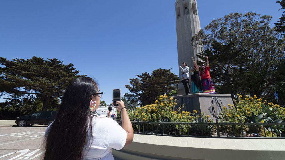 Foto: Lugar en el que estaba la estatua de Colón en San Francisco. (EFE)