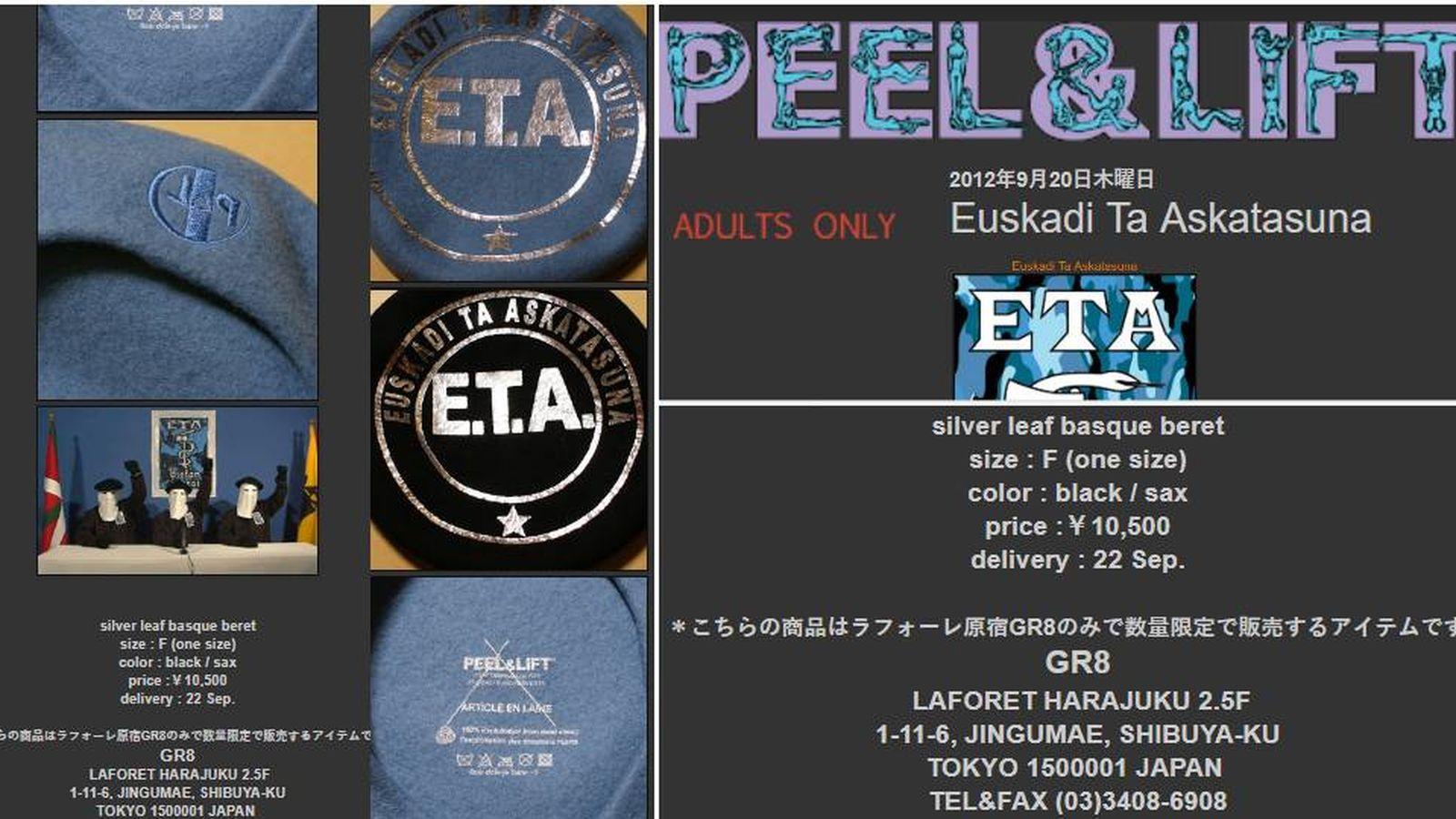 ETA (banda terrorista)  Chapelas a 80 euros  la web japonesa que vende  merchandising de ETA desde 2012 90f99423813