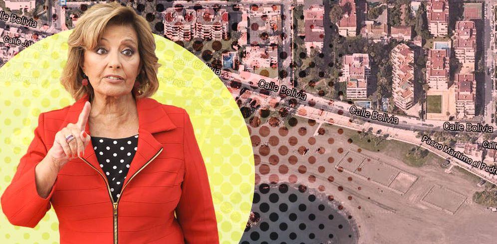 Foto: María Teresa Campos y la zona de Pedregalejo, en Málaga, donde reside.