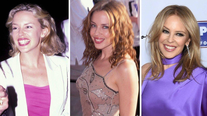 La evolución en el rostro de Kylie Minogue. 1995, 1999 y 2019. (Cordon Press / Getty)