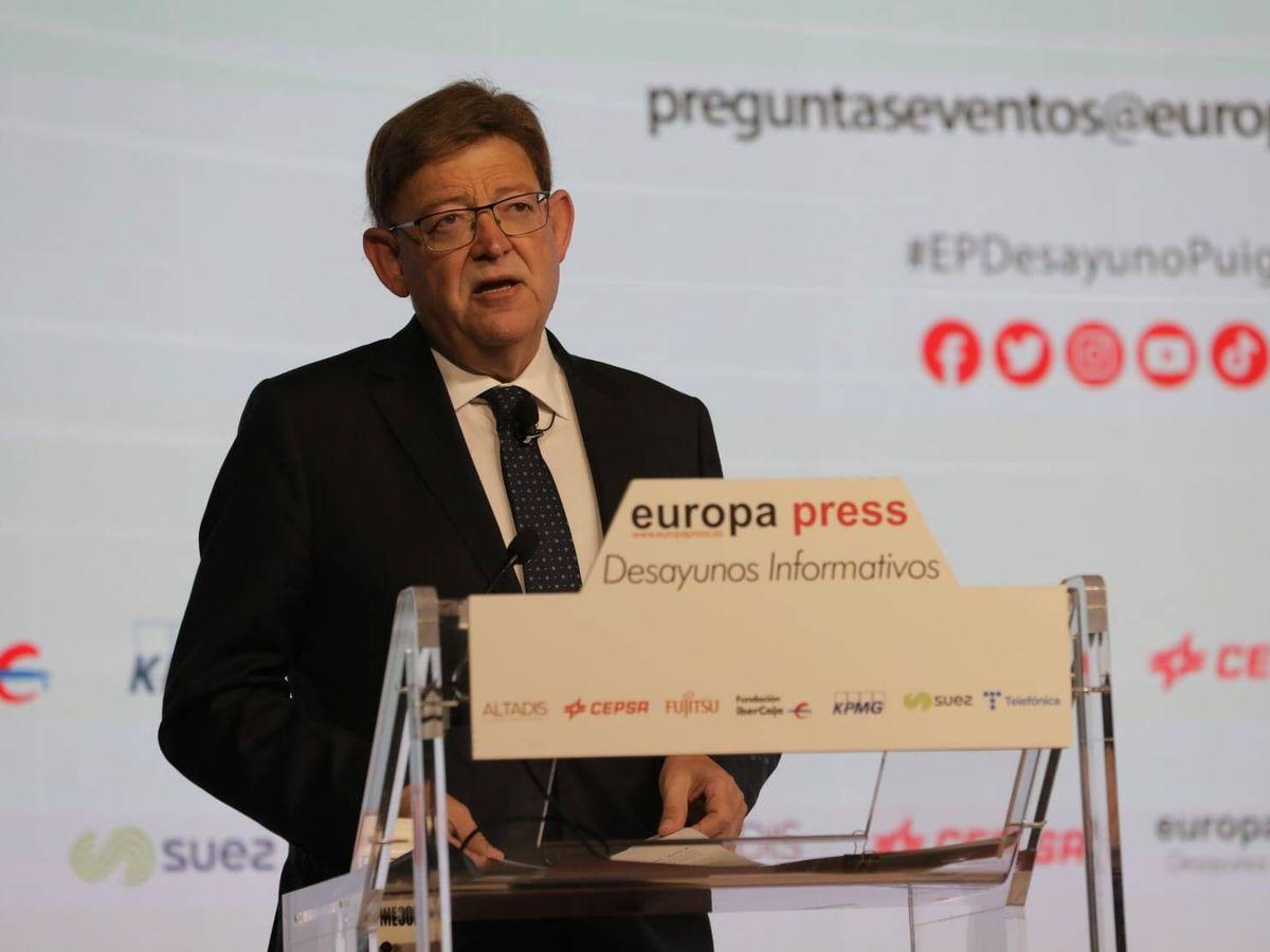 Foto: Ximo Puig, en su intervención en los desayunos de Europa Press.
