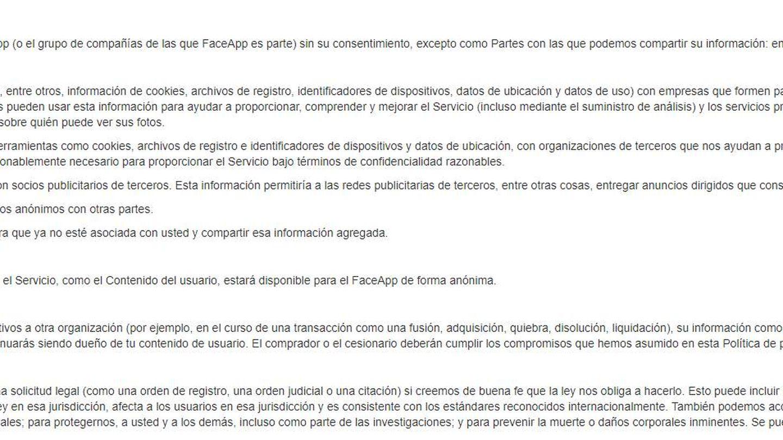 Versión traducida al castellano de los términos y condiciones de FaceApp