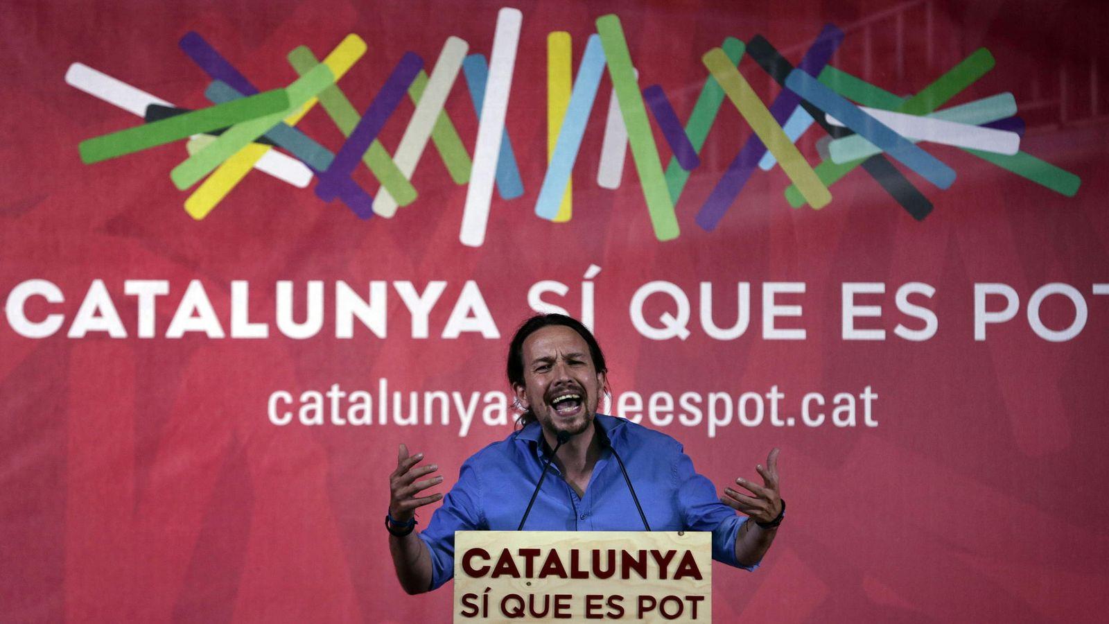 Foto: Pablo Iglesias, durante un mitin de Catalunya Si que es Pot en Mollet del Vallès. (EFE)