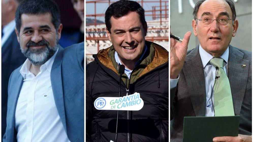 Foto: Jordi Sànchez, Juanma Moreno e Ignacio Sánchez Galán. (El Confidencial)