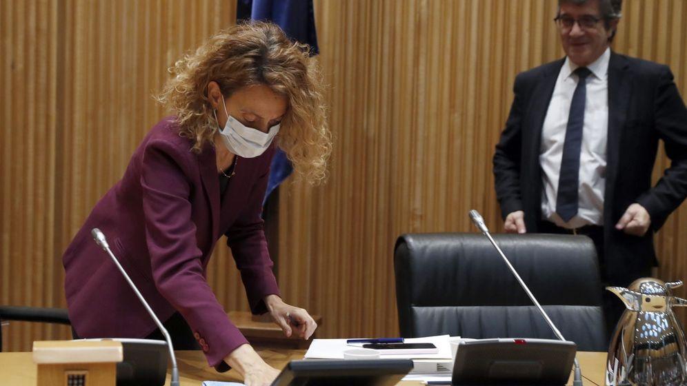 Foto: Meritxell Batet, junto a Patxi López, el pasado 7 de mayo en el Congreso, en la constitución de la Comisión de Reconstrucción. (EFE)