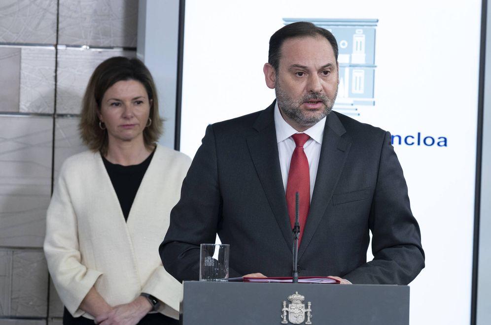 Foto: José Luis Ábalos, durante la rueda de prensa en la Moncloa de este 15 de marzo. (Pool Moncloa)