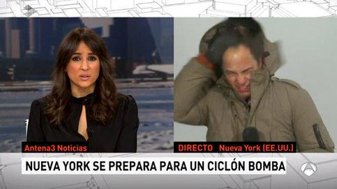 José Ángel Abad sufre en directo la furia de la tormenta de nieve en Nueva York
