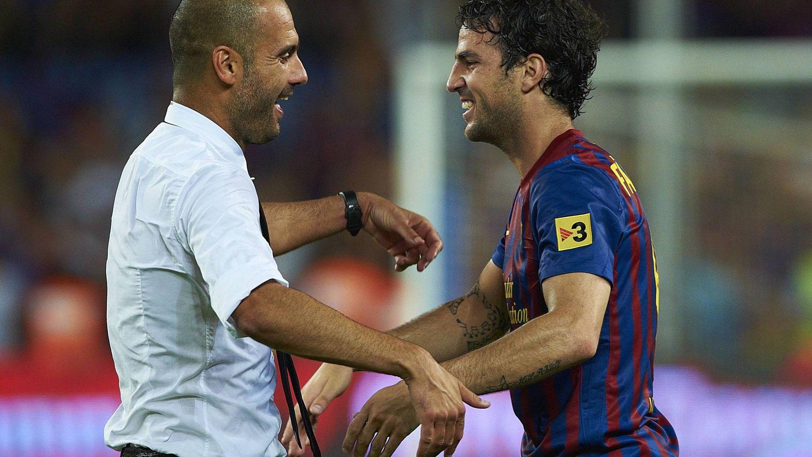 Foto: Pep Guardiola y Cesc Fábregas, durante su etapa en el Barcelona. (Imago)