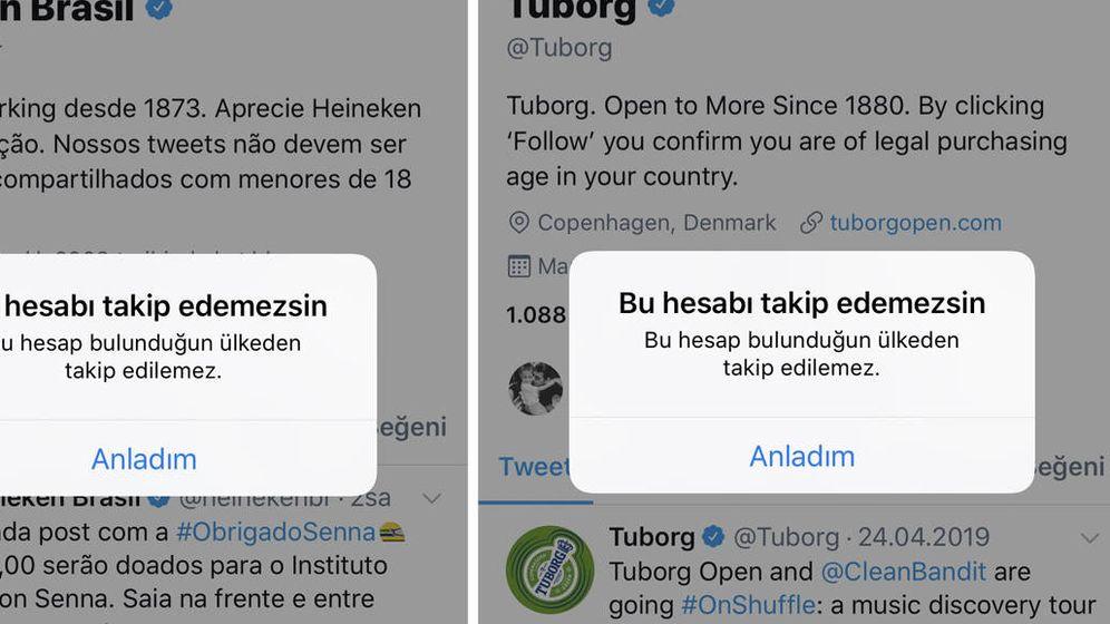 Foto: Los mensajes que aparecen en Twitter cuando se intenta acceder desde Turquía a las cuentas de bebidas alcohólicas