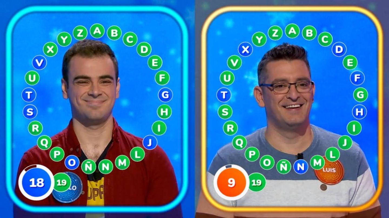 Pablo y Luis, en la prueba final del rosco. (Atresmedia)