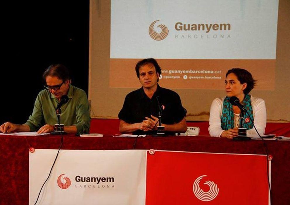 Foto: Los portavoces de Guanyem Barcelona, Joan Subirats, Jaume Asens y Ada Colau. (facebook/guanyem)