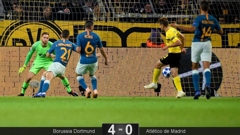 Foto: Guerreiro marcó dos de los cuatro goles del Borussia Dortmund al Atlético de Madrid. (EFE)