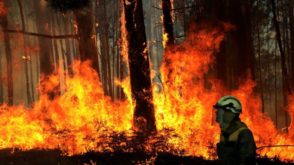 Foto: La UME se suma a los trabajos de extinción del incendio en Ribeira. (EFE)