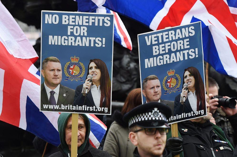 Foto: Miembros del partido de ultraderecha Britain First protestan en Londres. (EFE)