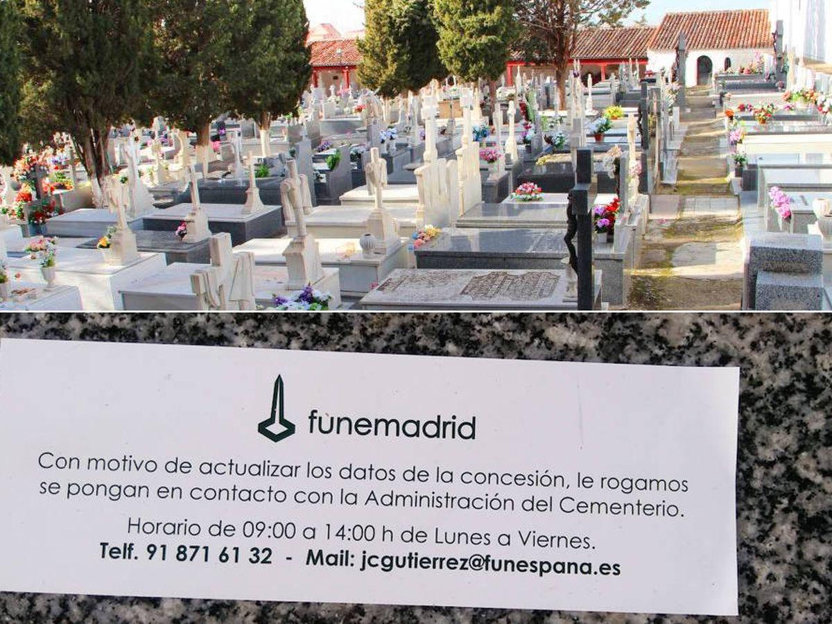Foto: Arriba, cementerio viejo de Arganda. (Ayuntamiento). Abajo, mensaje que encontraron decenas de personas en las lápidas de sus familiares. (EC)