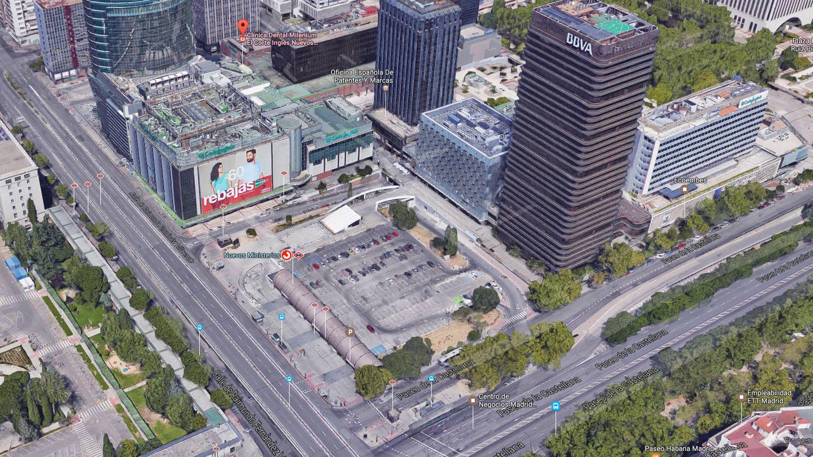 Foto: Terrenos donde El Corte Inglés ampliará su actual centro de Nuevos Ministerios. (Google Maps)