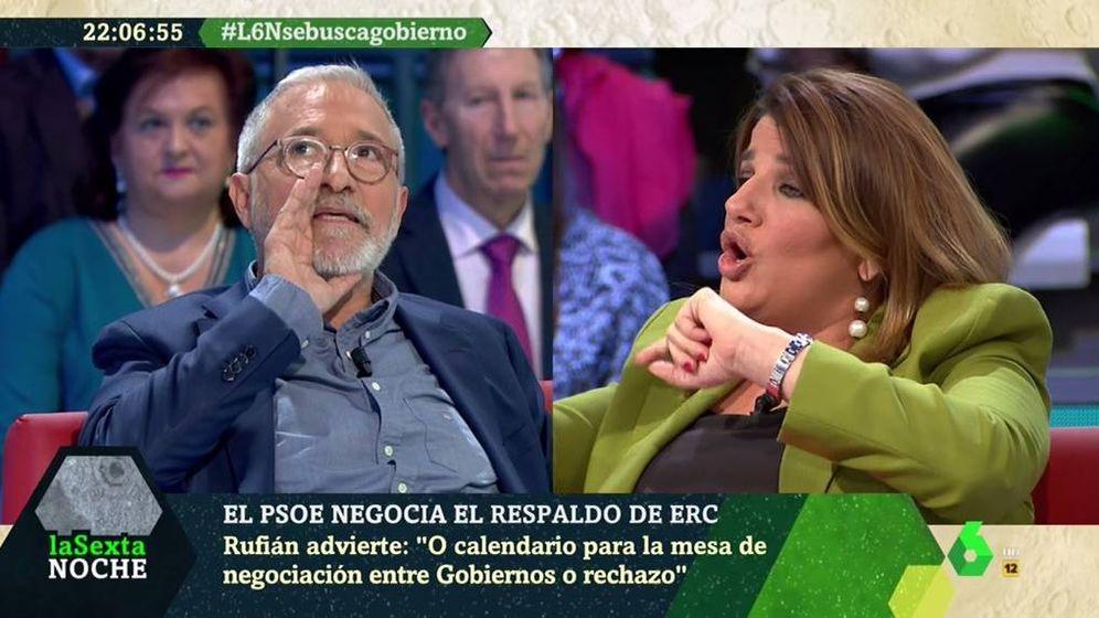 Foto: Xavier Sardà y María Claver, en 'La Sexta noche'. (Atresmedia).