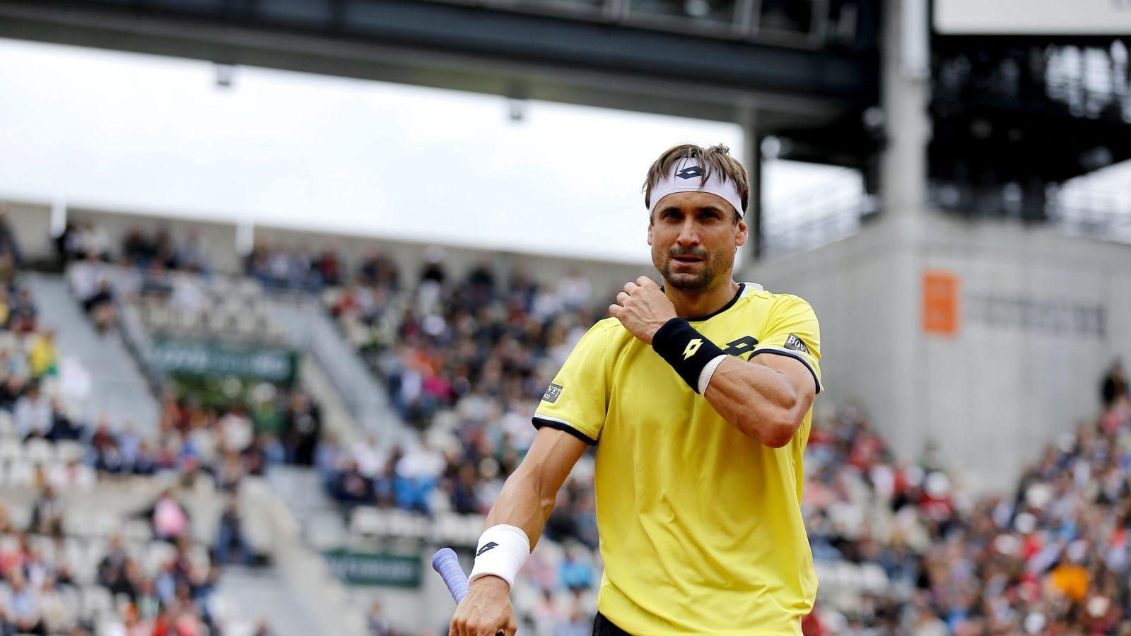 Foto: David Ferrer durante su partido de primera ronda de Roland Garros (Efe).